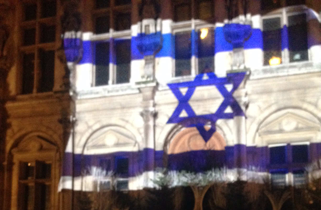 Richard Odier President SWC-France, Paris Town Hall Illumination to honour  victims of terror in Jerusalem
